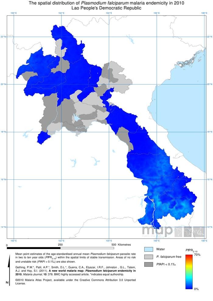 Mapa de la malaria en Laos