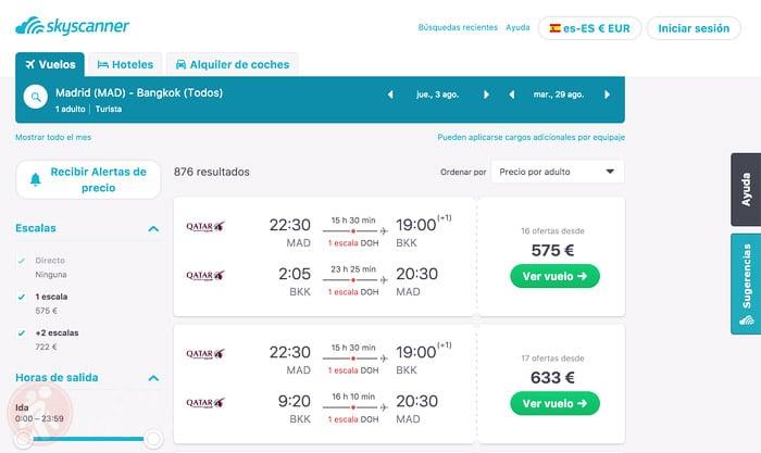 Vuelo Madrid - Bangkok con Qatar