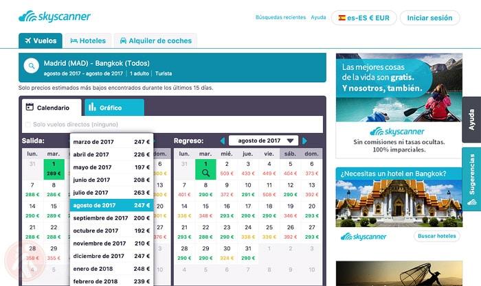Escoge el mes más barato para volar a Bangkok