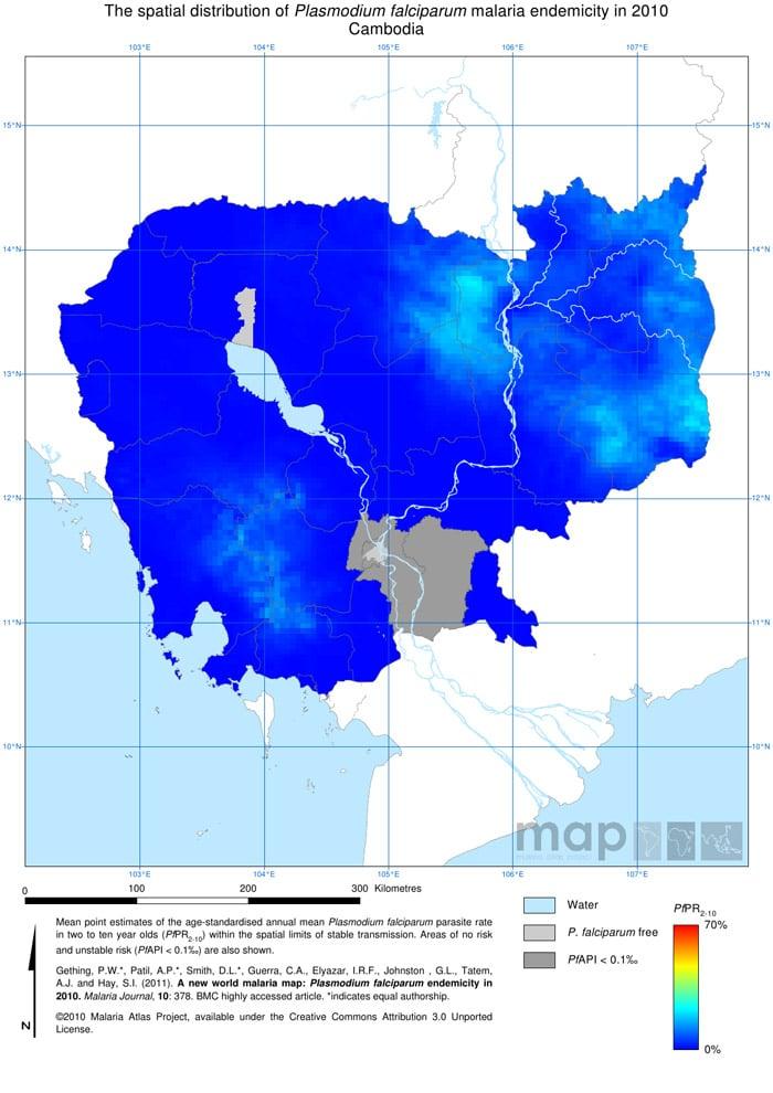 Mapa de la malaria en Camboya