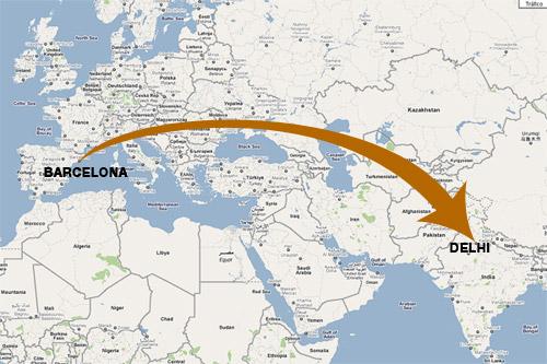 De Barcelona a Delhi por pocos euros