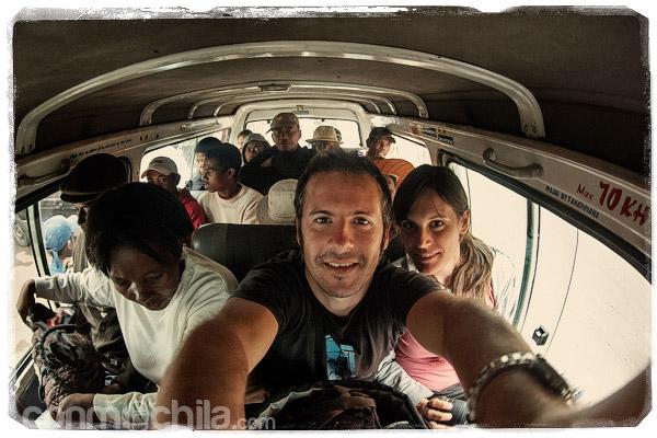 Alegría en el primer taxi-brousse
