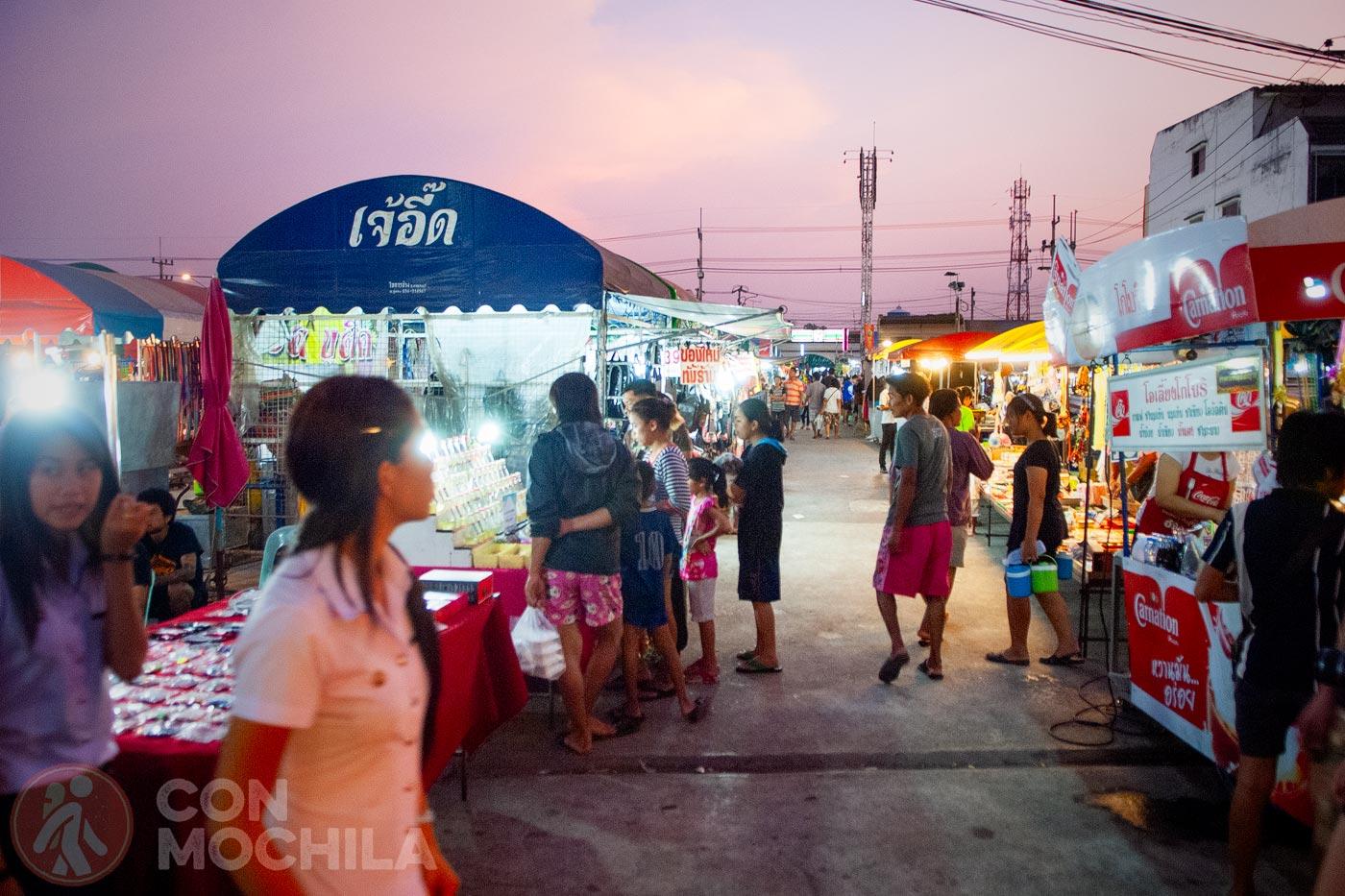 El mercado nocturno de Kanchanaburi