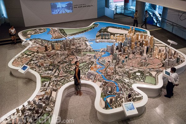 La maqueta de Singapur de la planta de arriba