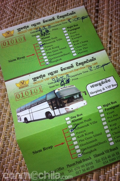 Ticket de bus Siem Reap - Bangkok