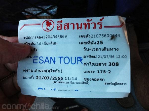 El ticket de la empresa de buses