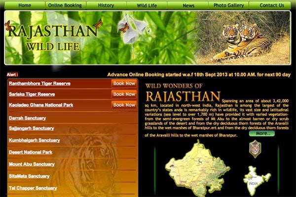 Web oficial de los parques naturales de Rajasthan