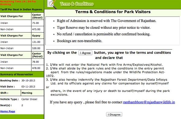Términos y condiciones de la reserva