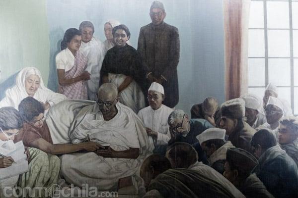 Pintura de una escena en el Sabarmati Ashram
