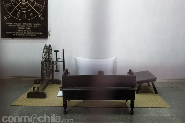 Lugar donde se sentaba Gandhi con la rueca