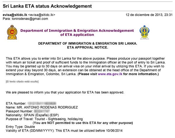 Aprobación del ETA