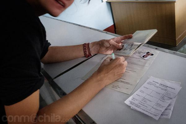 Rellenando el formulario para obtener el visado