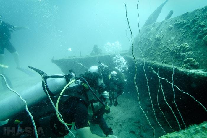 Visitando a la manta raya que vive bajo el catamarán