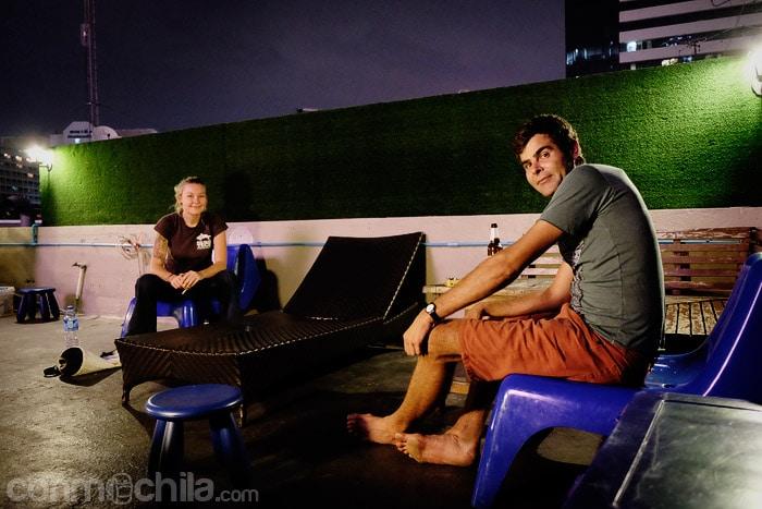 La terraza con los amigos