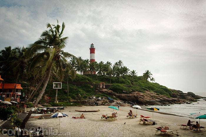 La playa de Kovalam donde paramos a comer