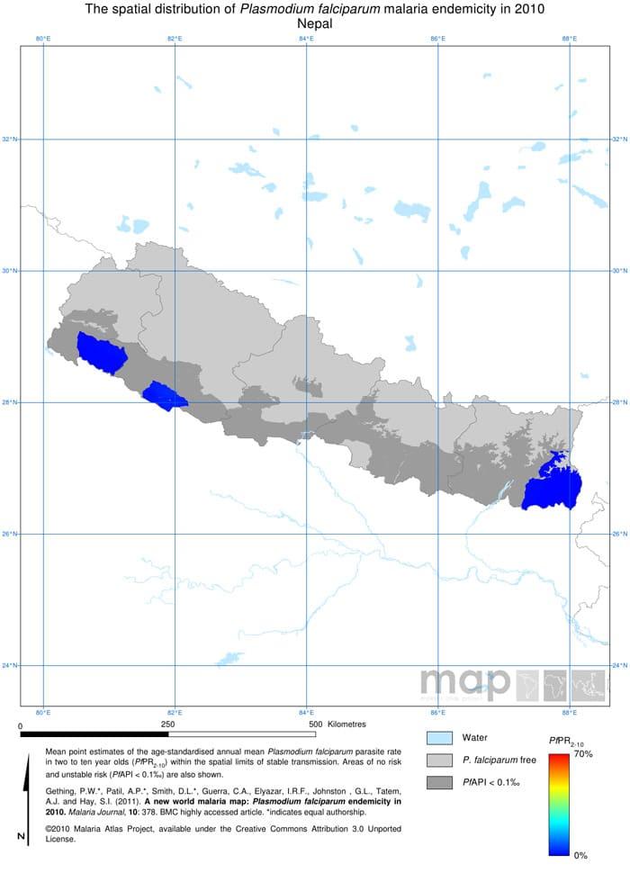 Mapa de la malaria en Nepal