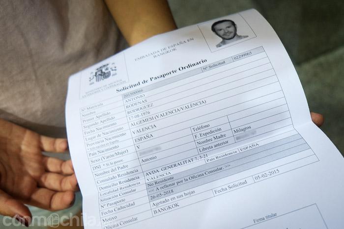 El resguardo que hay que llevar para recoger tu pasaporte