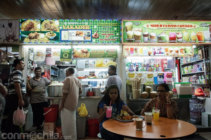 Uno de los puestos de comida