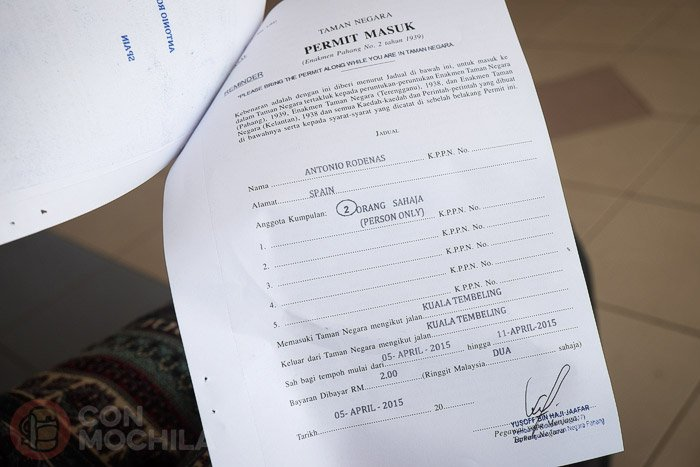 El permiso necesario para entrar al Parque Nacional Taman Negara