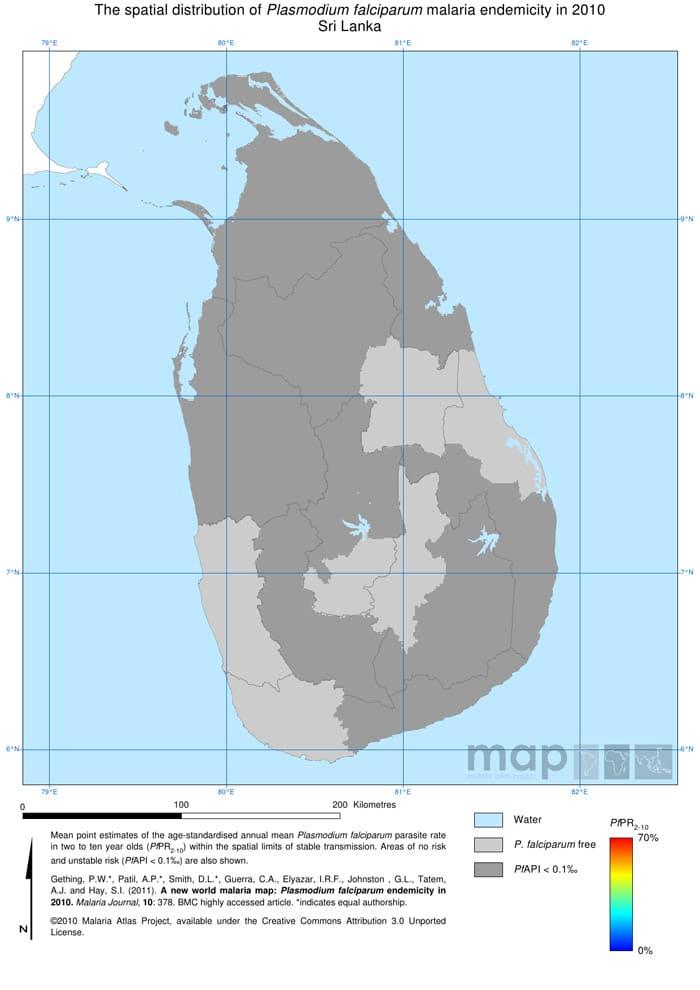 Mapa de la malaria en Sri Lanka