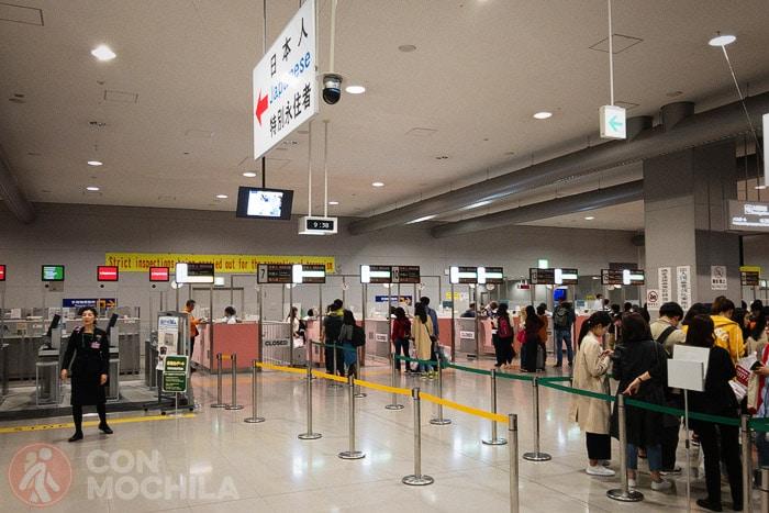 Zona de inmigración del aeropuerto de Osaka