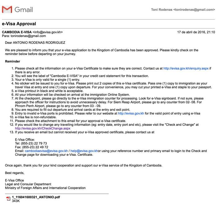 Mail que indica que ha sido aprobado el visado