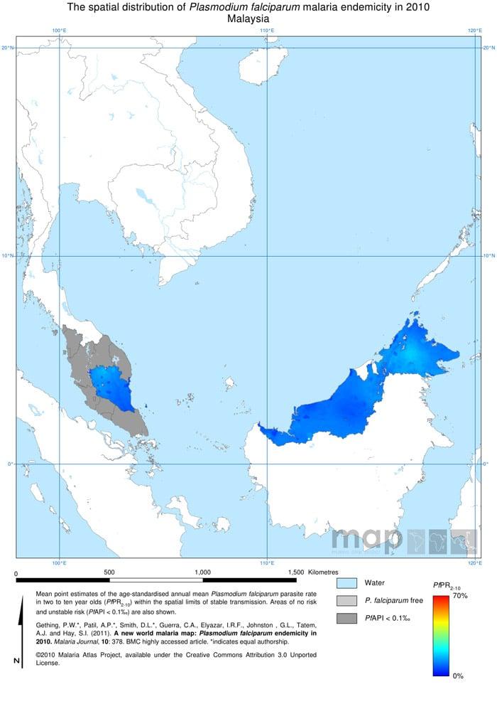 Mapa de la malaria en Malasia