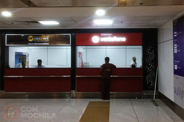 La oficina de Vodafone en el aeropuerto de Delhi