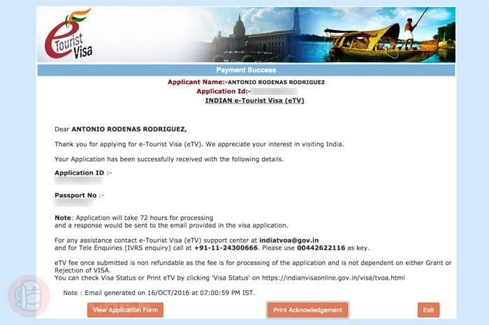 Pago del visado de India online realizado con éxito