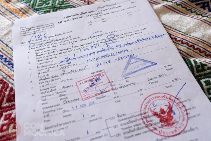 Formulario de inmigración para sacar la moto de Tailandia