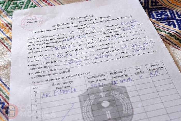 Formulario de inspección de vehículos para entrar a Laos