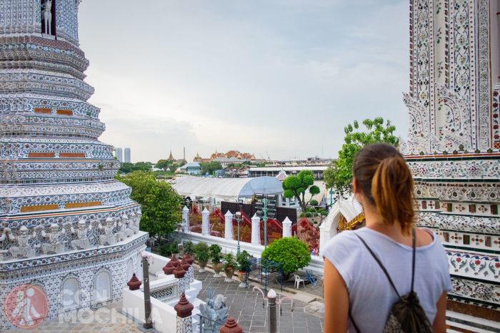 Vista del Palacio Real de Bangkok desde el Wat Arun