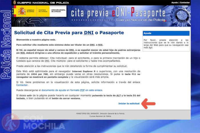 """1. Haz click en """"Iniciar la solicitud"""" para hacer el pasaporte con cita previa"""