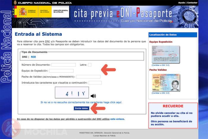2. Introduce tus DATOS del DNI y haz click en enviar
