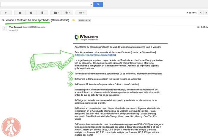El mail de confirmación de nuestro visado de Vietnam