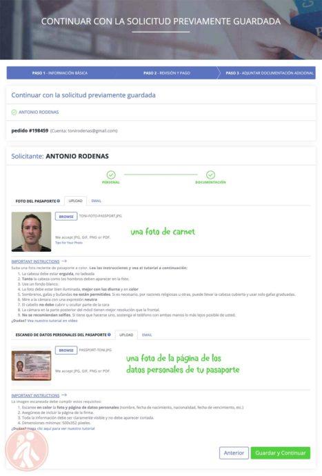 Foto de carnet y foto del pasaporte
